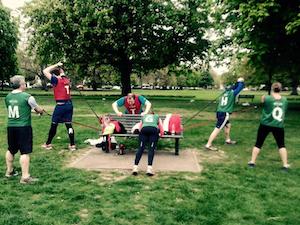 Using park bench